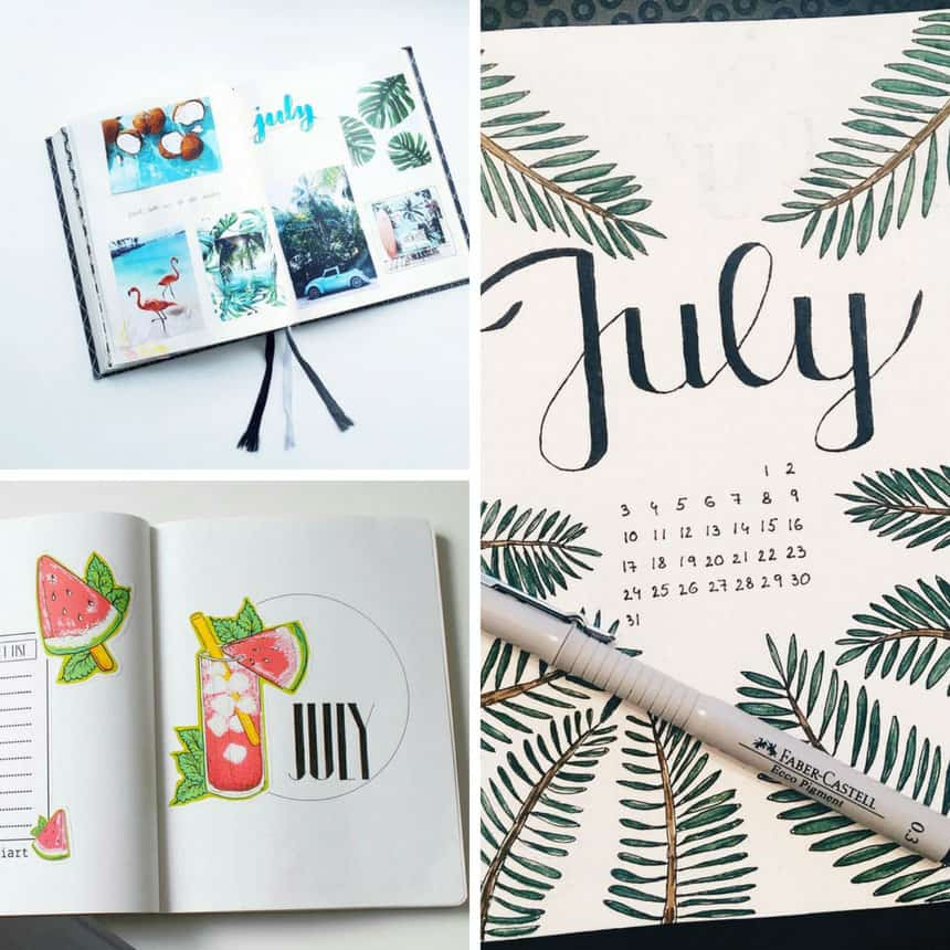Bullet Journal July Cover Pages