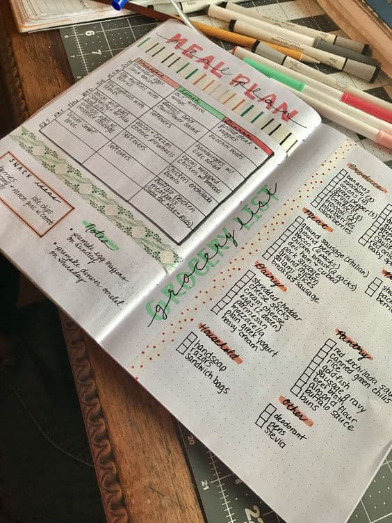 Bullet Journal Keto Meal Plan