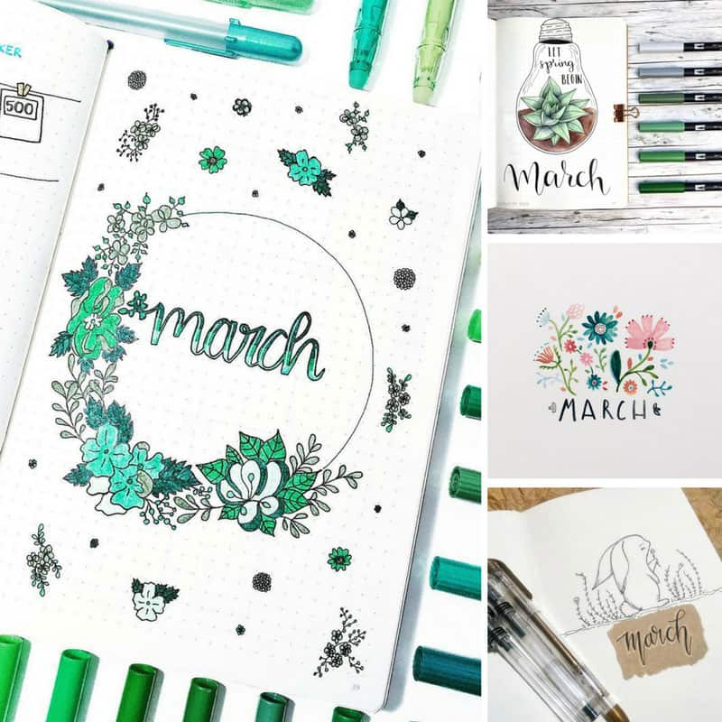 Bullet Journal March Cover Page Ideas