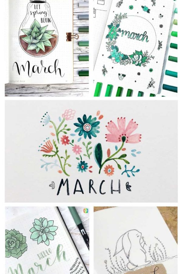 How cute are these bullet journal March cover pages?