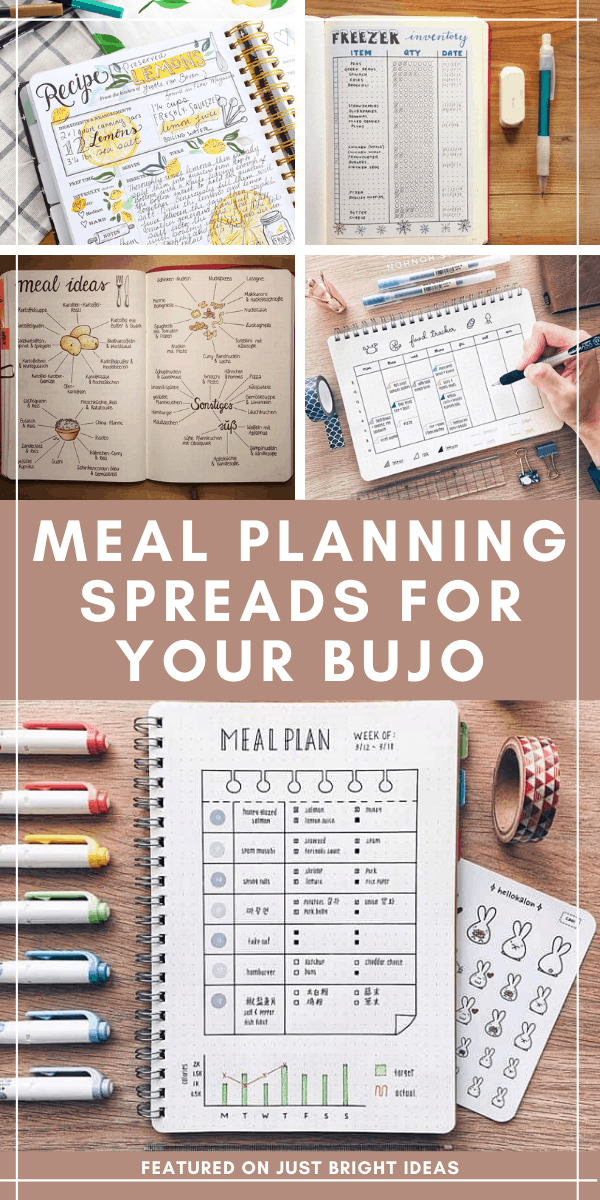 These meal planning bullet journal spreads are just what I need to take the stress out of dinner prep!