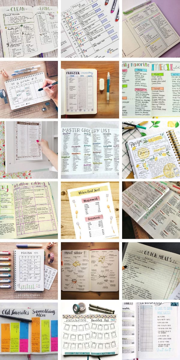Loving these bullet journal meal planning spreads - so many great meal prep ideas for your BUJO or planner #bujo #planner #bulletjournal #mealplan #mealprep