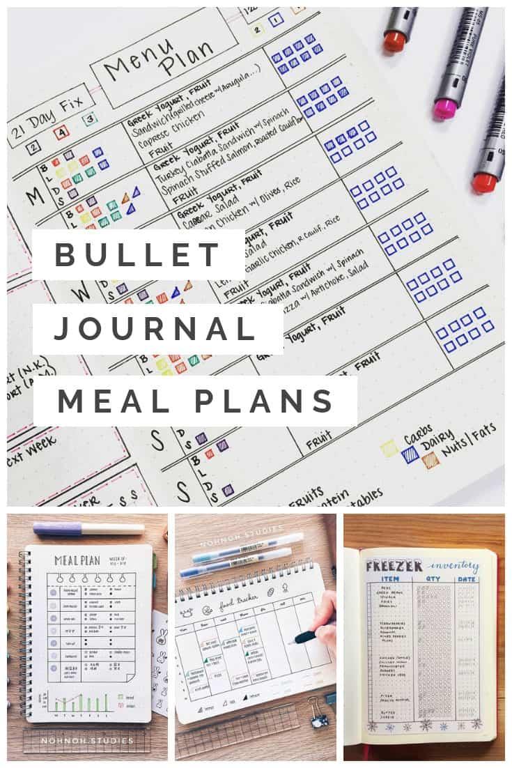 If you're always stressed at dinner time it's time to put these Bullet Journal meal plans to the test. You'll eat healthier and save money on groceries too!