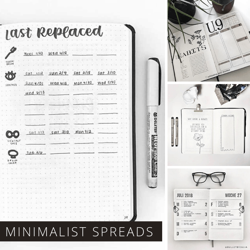 Loving these minimalist bullet journal spreads - so many reasons to stick with black and white this month!