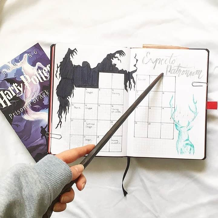 Bullet Journal Monthly Calendar Spread Harry Potter