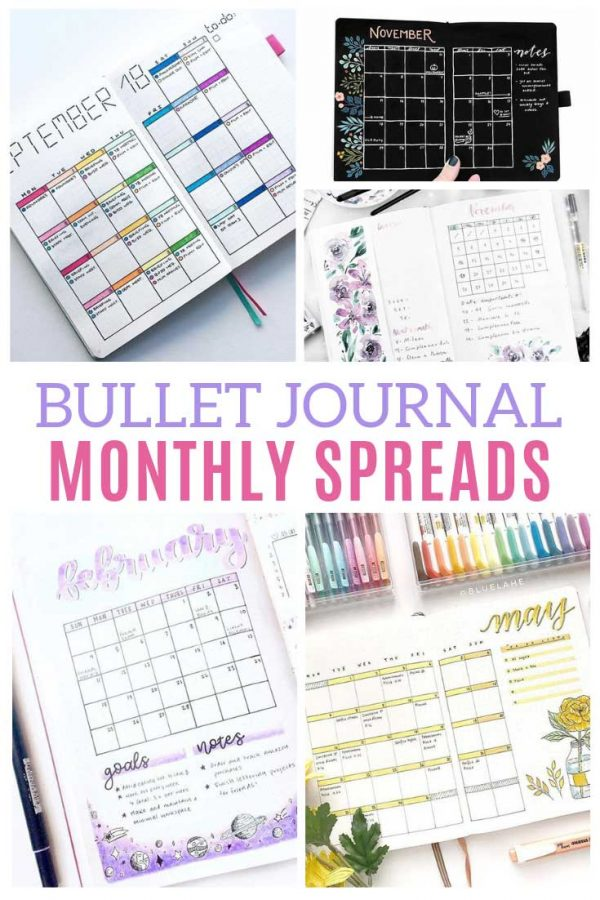 These bullet journal monthly spread ideas are so CREATIVE!