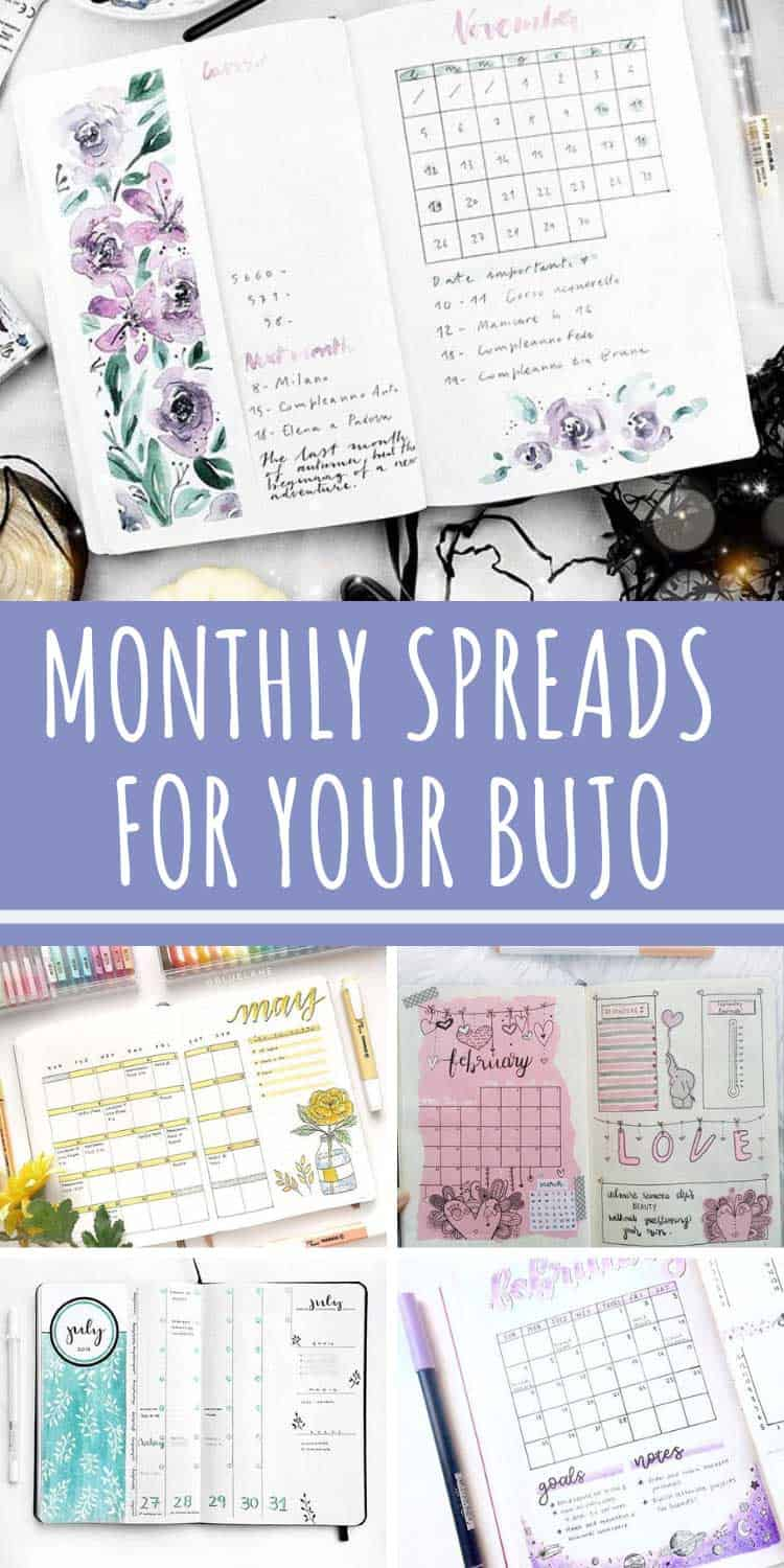 Monthly spread ideas for your bullet journal