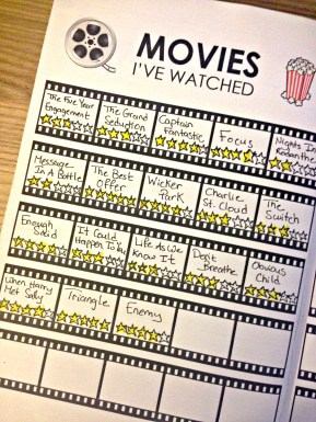 Bullet Journal Movie Tracker Printable
