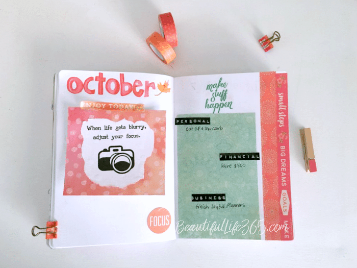 Bullet Journal October Vision Board