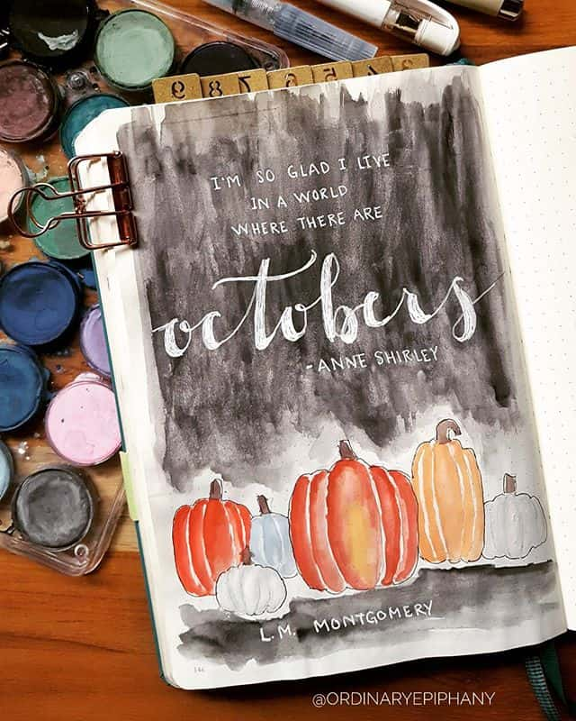 Bullet Journal October Anne Shirley Quote