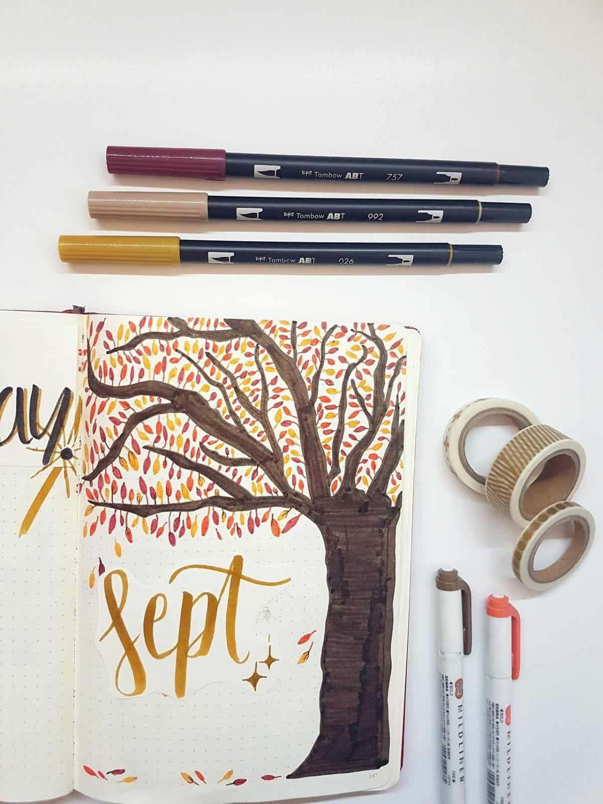 Bullet Journal September Fall Tree