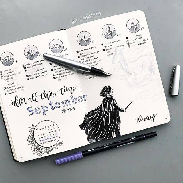 Bullet Journal September Harry Potter Cover
