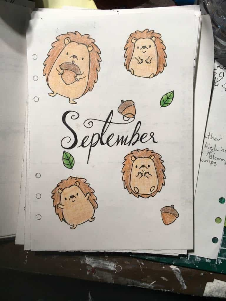 Bullet Journal September Hedgehog Cover