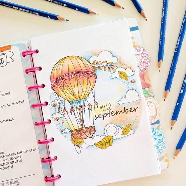 Bullet Journal September Hot Air Balloon Cover Page