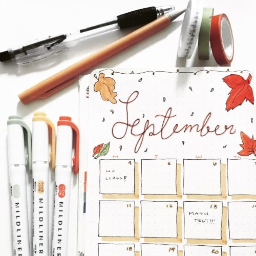 Bullet Journal September Leaves Cover Page