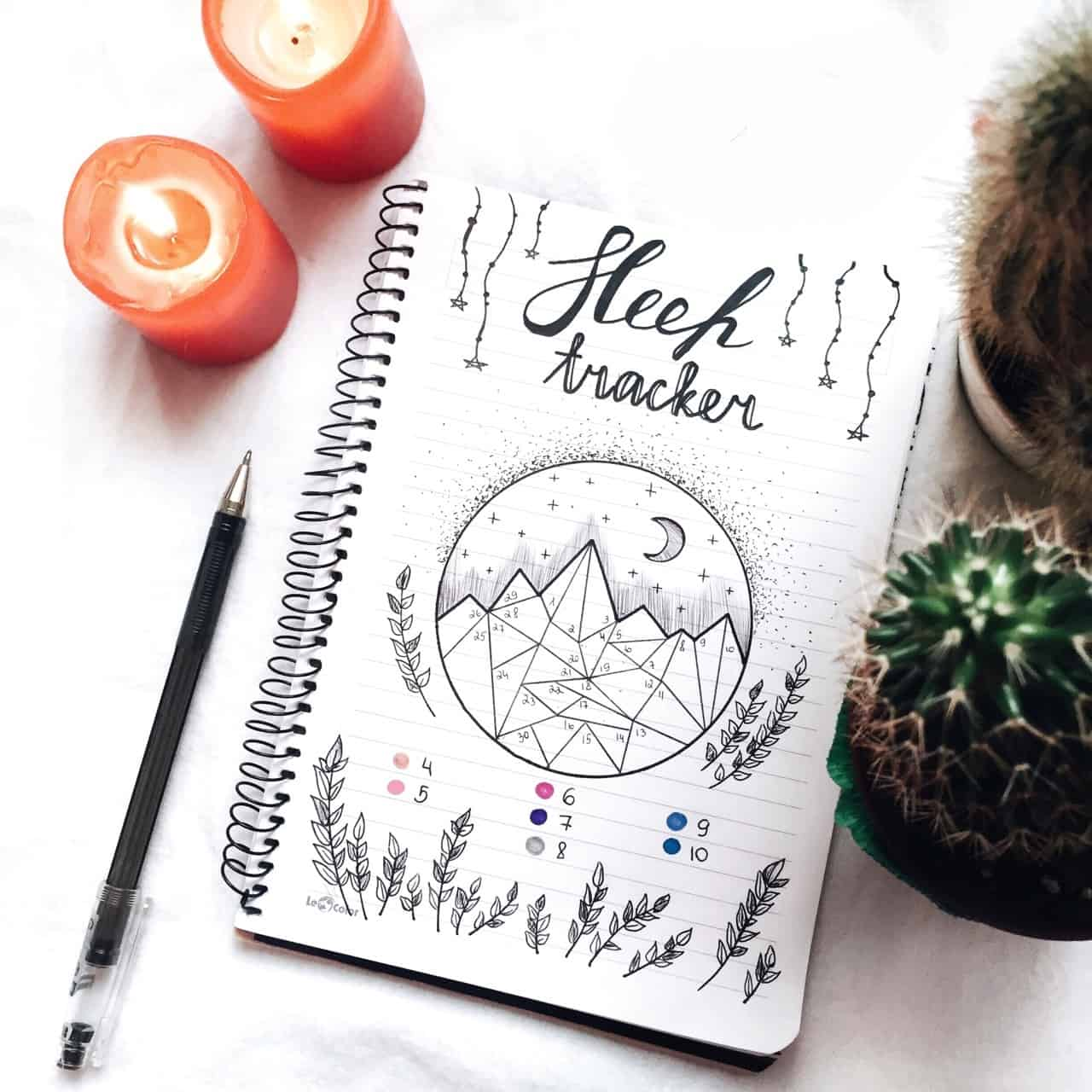 Bullet Journal Sleep Tracker Mountain