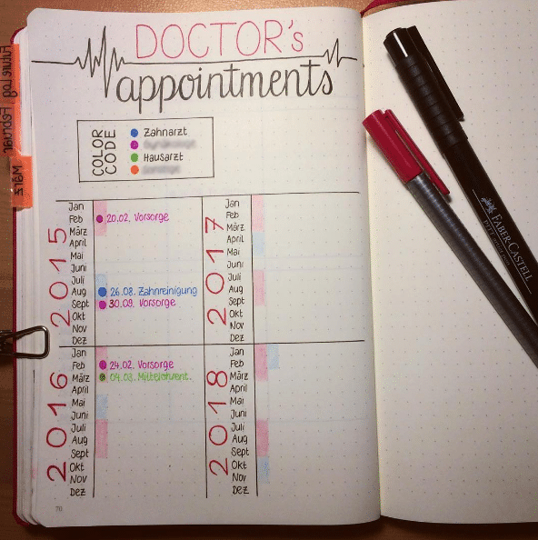 Bullet Journal Track Doctor Appointments