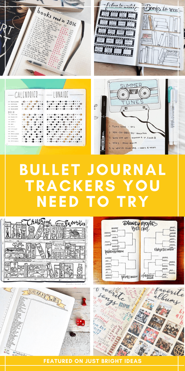 You are going to love these bullet journal tracker layouts - so many great ideas for keeping track of your favorite albums, childhood books, what you're reading now and so much more!