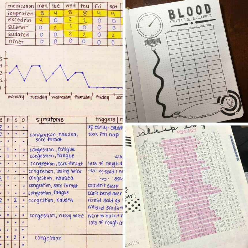 Bullet Journal Trackers for Health and Wellness