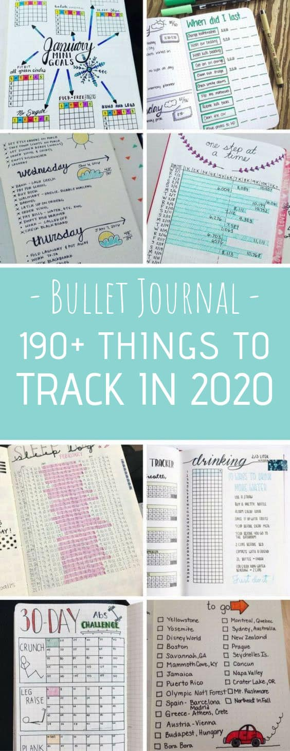 So many bullet journal tracking ideas for 2020! Which ones will you use? #bulletjournal