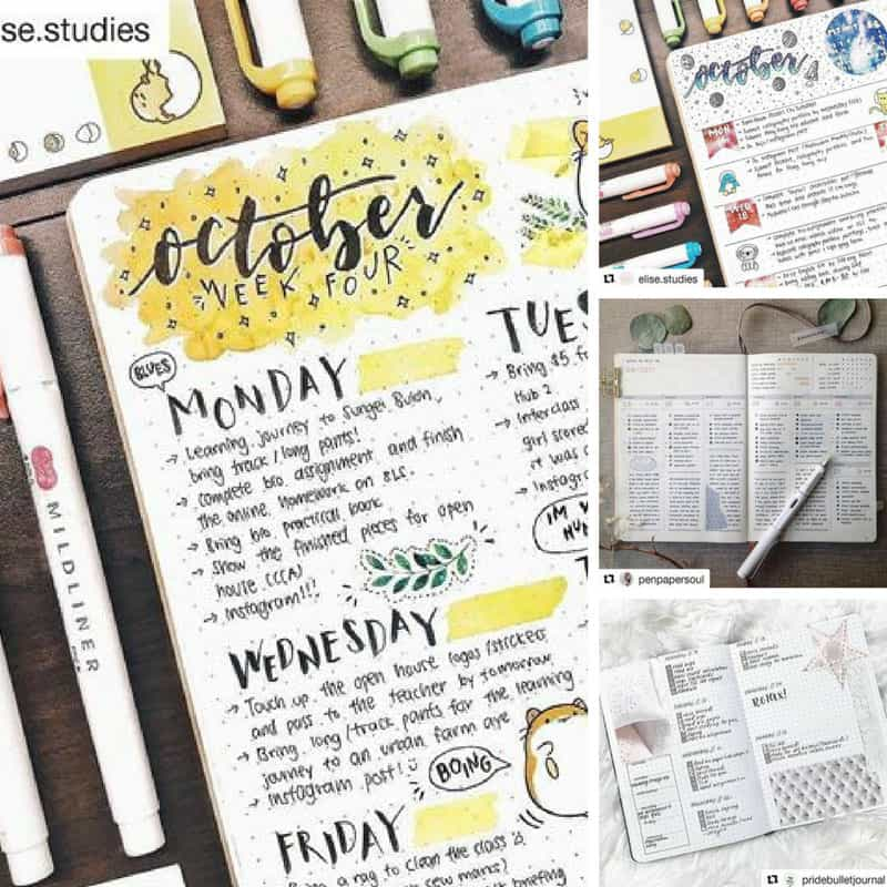 These Bullet Journal weekly spreads are amazing! #bujo