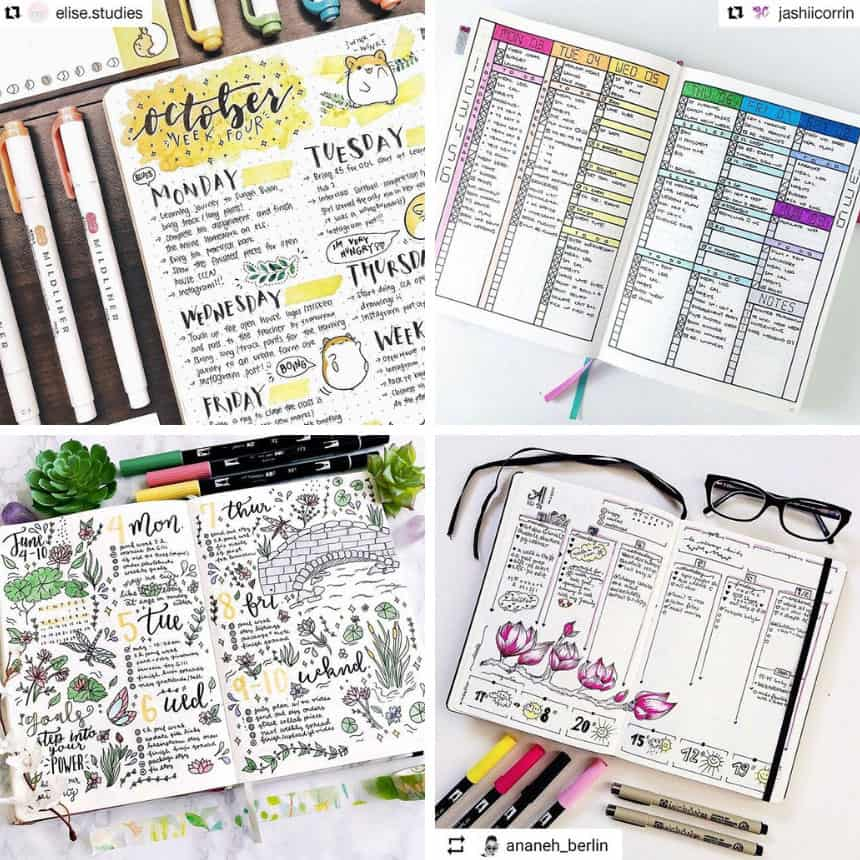 41 Amazing Bullet Journal Weekly Spread Ideas You Ll Lose Your Mind Over