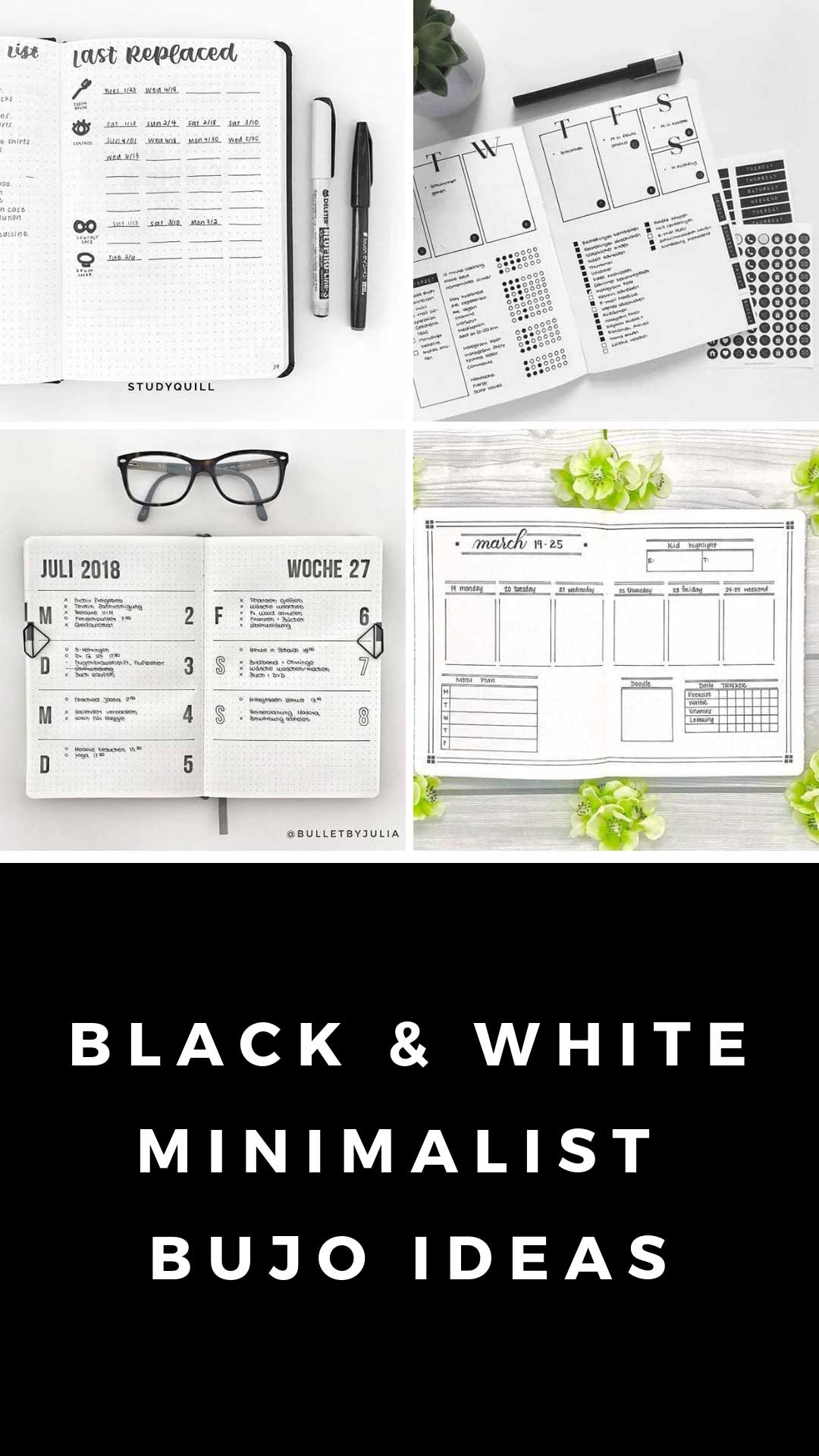 So many simple black and white bujo spreads here to encourage you to embrace the minimalist bullet journal movement!