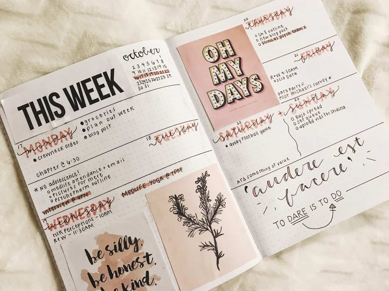 Bullet Journal Weekly Spread Quotes