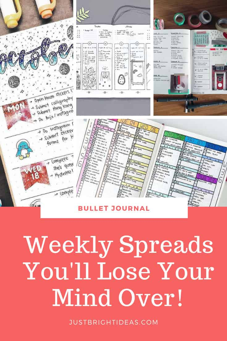 Bullet Journal Weekly Spreads for One Page and Two