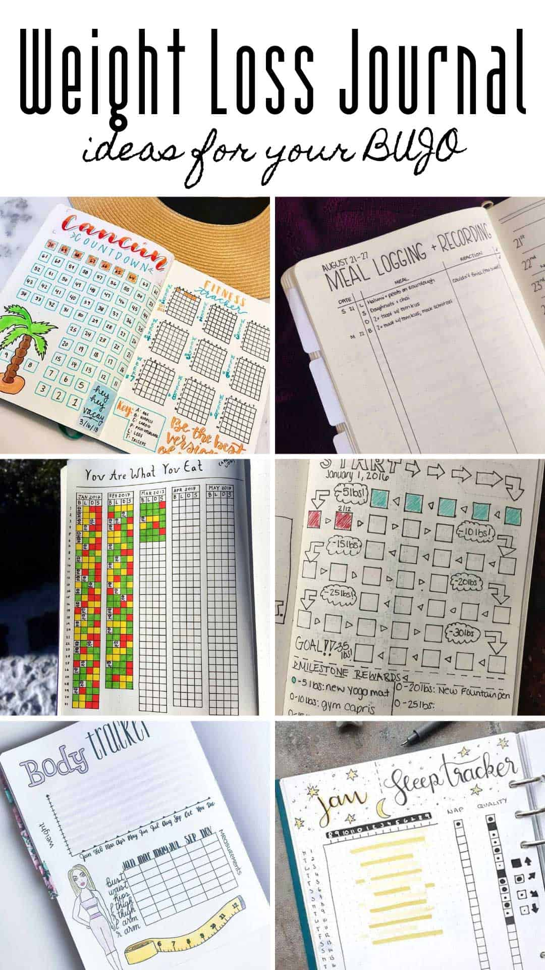 These bullet journal weight loss trackers and ideas are just what you need to slim down and get fit this summer #weightloss #bulletjournal