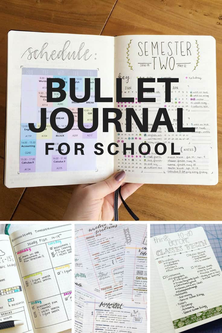 Bullet Journal for School Spreads and Ideas