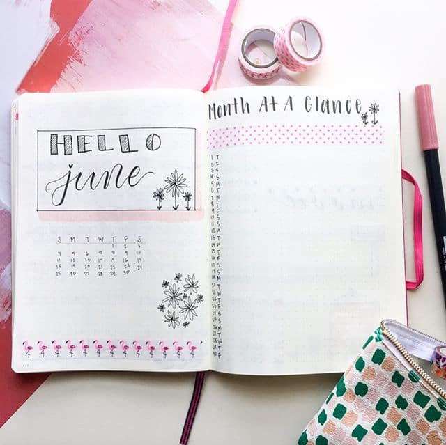 Bullet Journal month at a glance spread