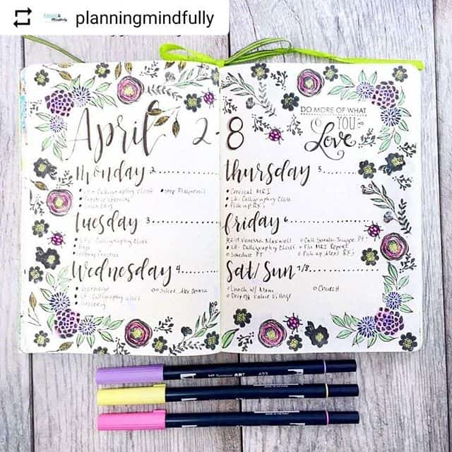 Bullet Journal weekly floral