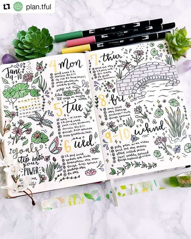 Bullet Journal weekly with doodles