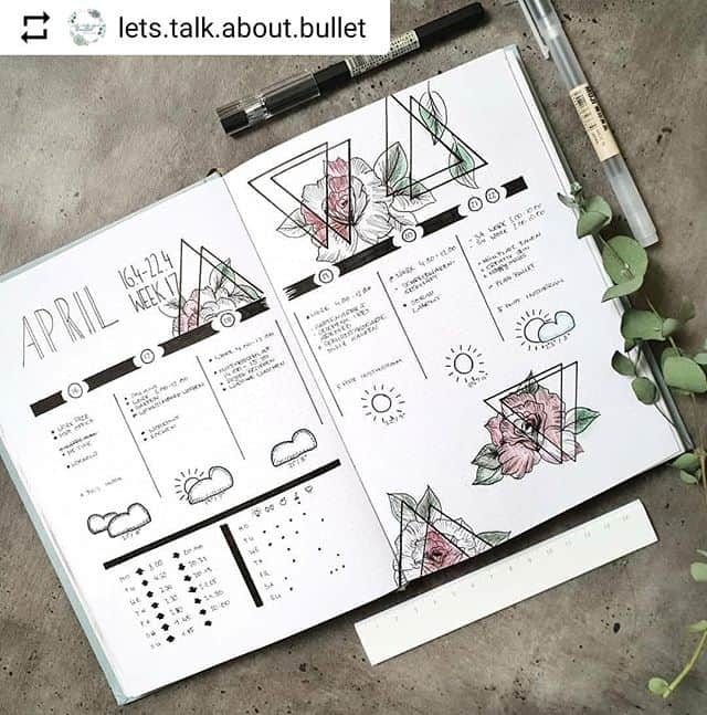 Bullet Journal weekly with weather and habits