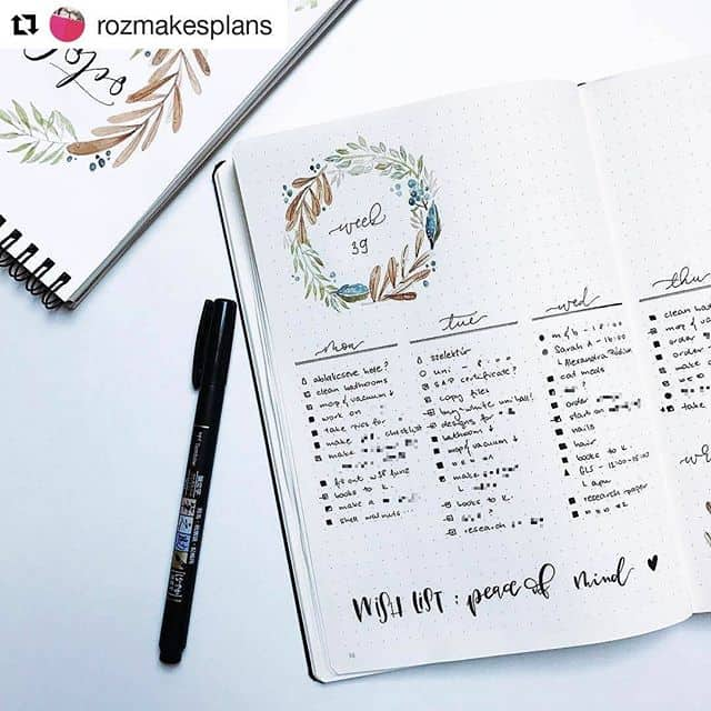 Bullet Journal weekly wreath frame header