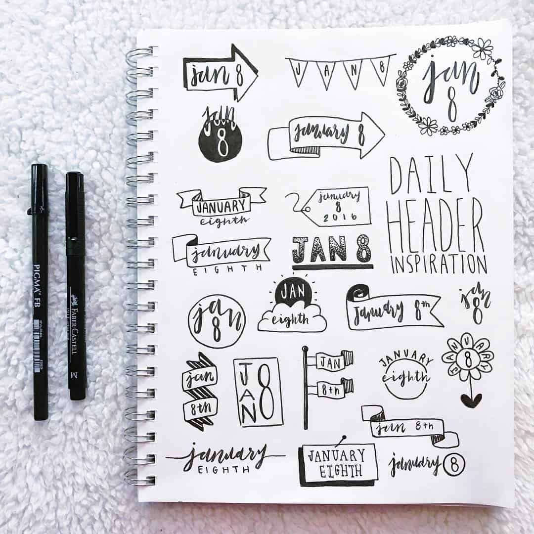 Bullet journal header page