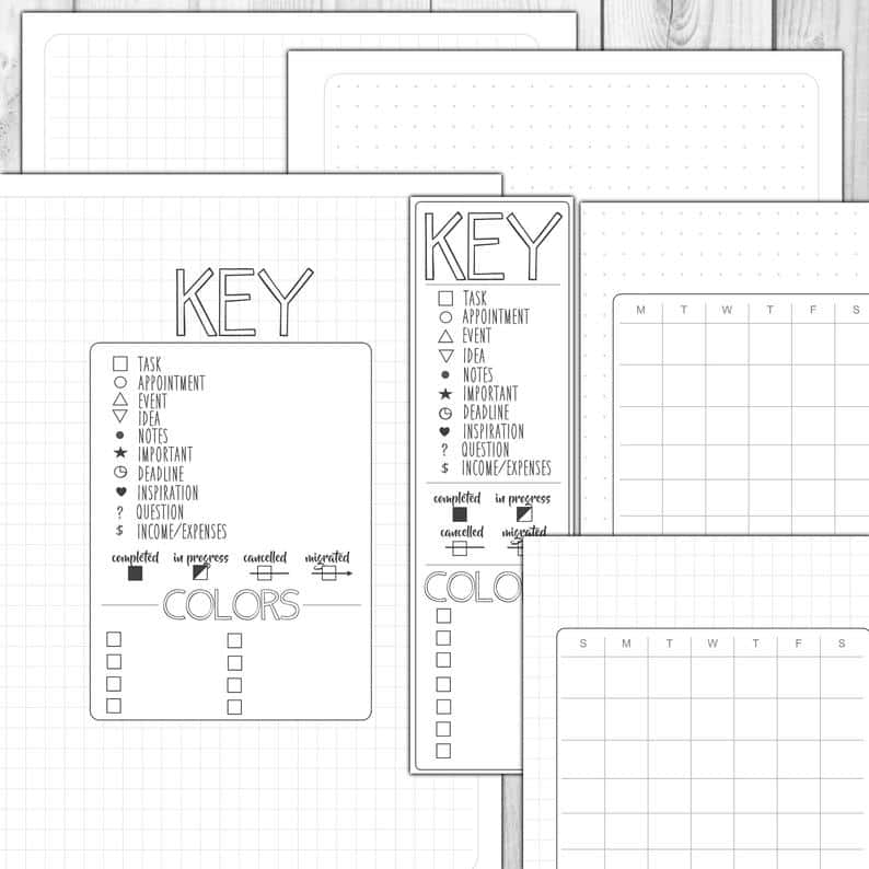 Bullet Journal Printable Starter Pack