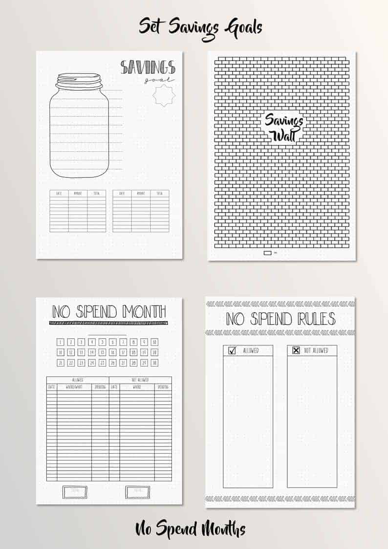 Bullet Journal Savings and Finance Tracker Printables