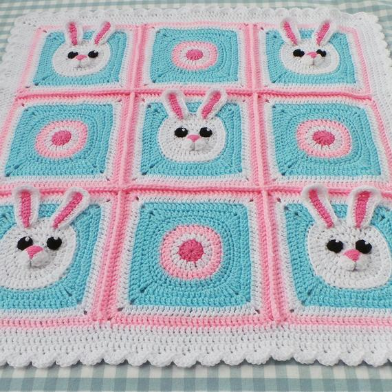 Bunny Granny Square Baby Blanket Pattern