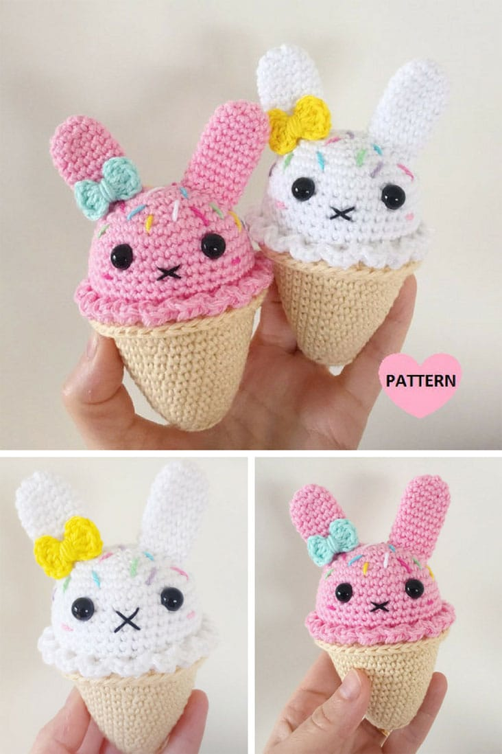 Bunny Ice Cream PDF Pattern, amigurumi, crochet