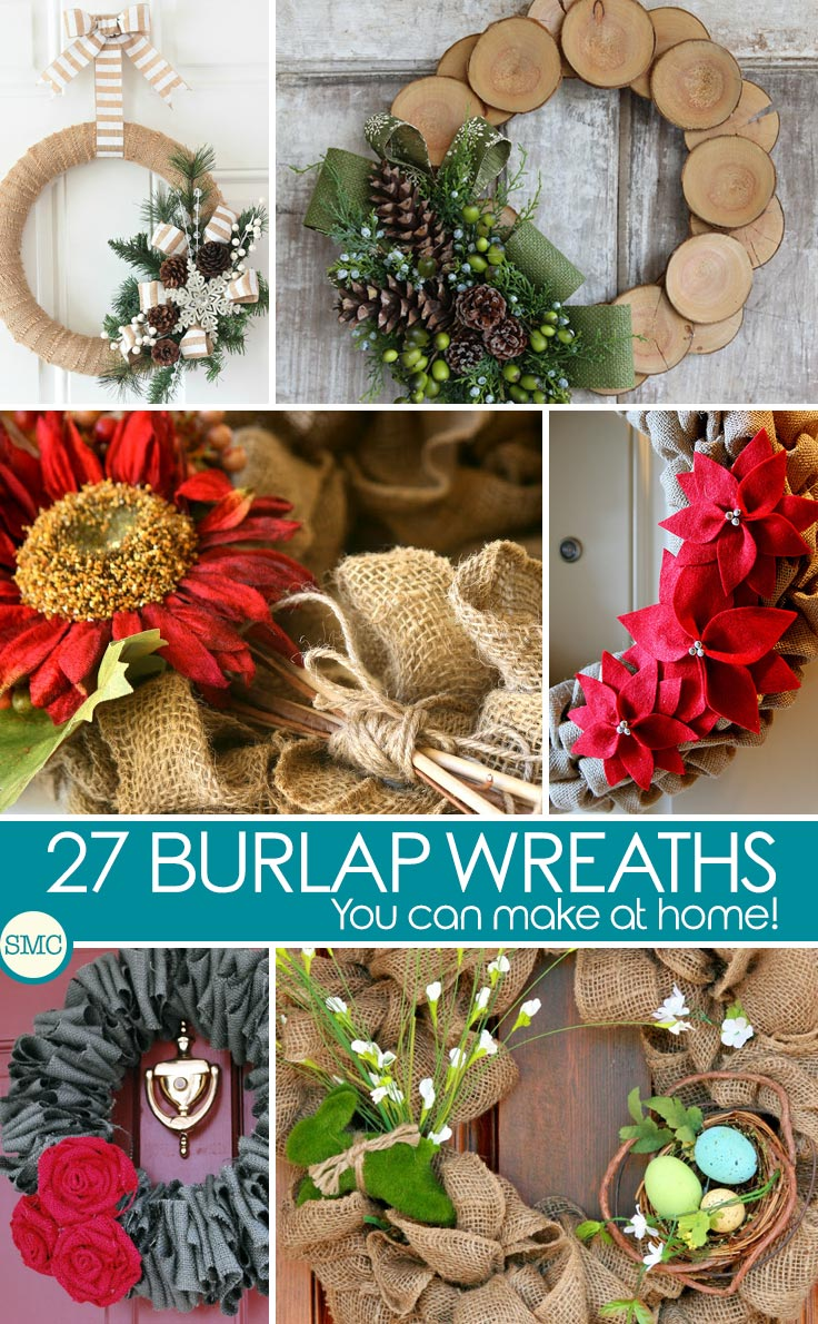 These DIY burlap wreaths are fabulous - and perfect to use all year around! Click on the image to see the tutorials.
