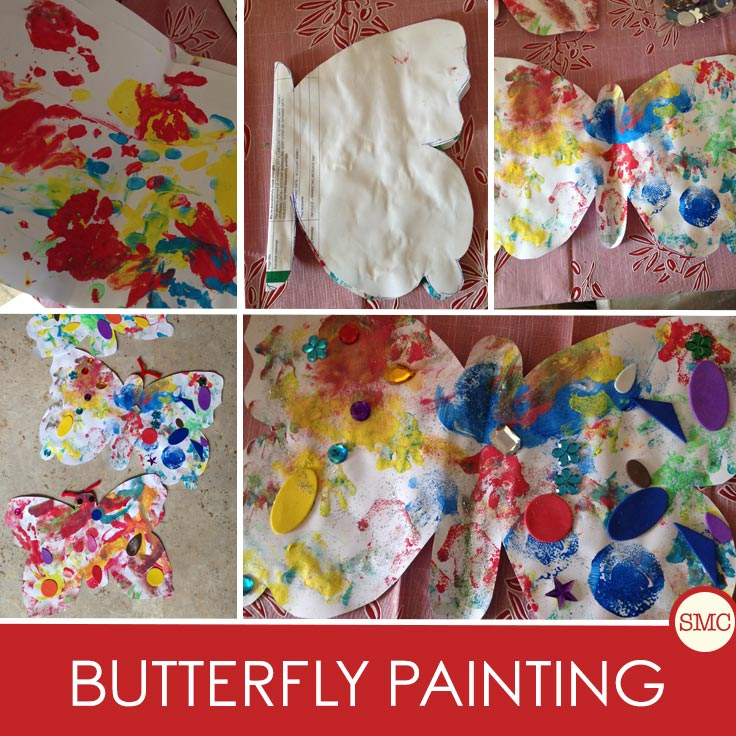 This butterfly painting activity  makes a gorgeous butterfly to hang on the wall or give to grandma as a gift
