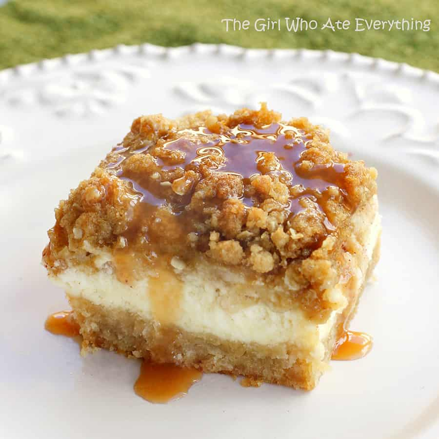 Cheesecake bars topped with caramel apple. Oh my!