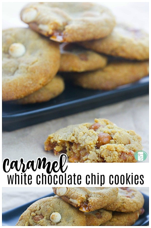 Double Caramel Stuffed White Chocolate Chip Cookies