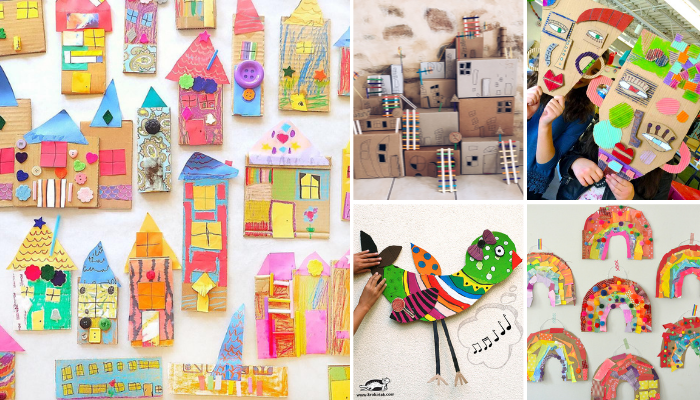 Loving these cardboard crafts for kids - so many fun ways to be creative while learning about colours, shapes, letters and even engineering! #cardboardcrafts #kidcrafts #craftsforkids