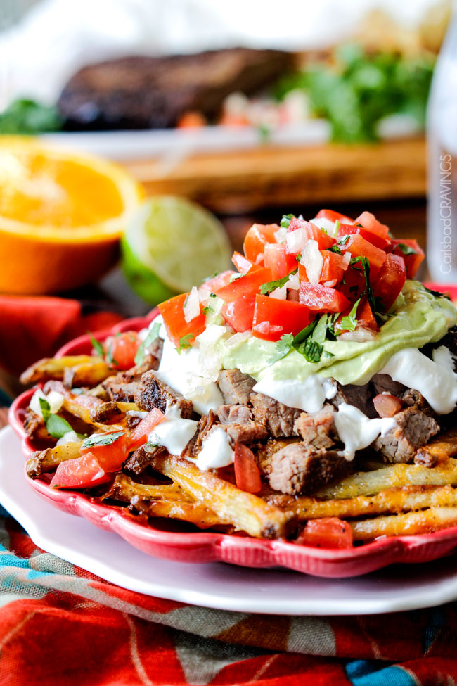 Loaded Carne Asana Fries | Mexican | Smothered Fries | Steak | Salsa | Avocado Crema
