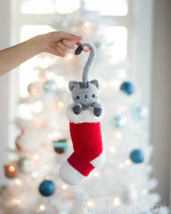 Chester Christmas Cat in a Stocking Crochet Pattern All About Ami