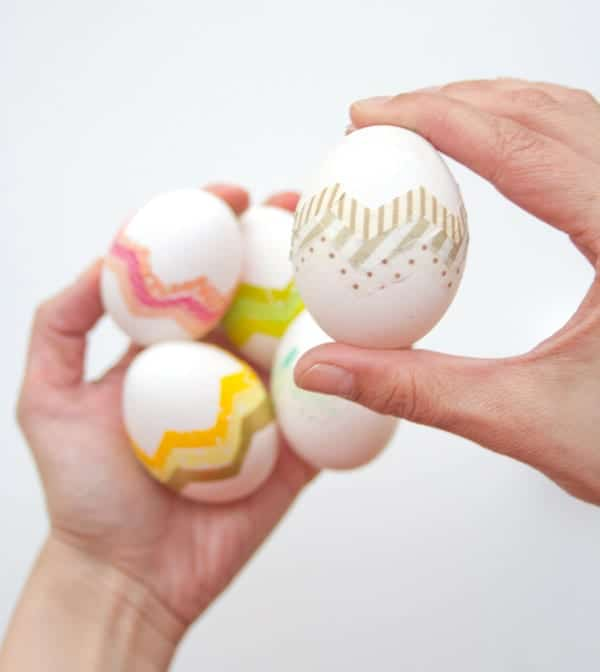 DIY Washi Tape Chevron Easter Eggs
