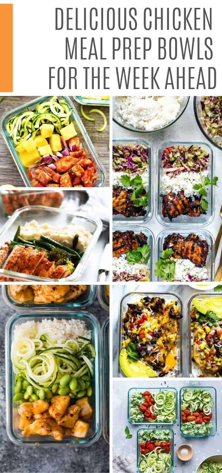 Delicious and healthy chicken meal prep bowls to see you through the week. They work for lunch or dinner options on your meal plan #mealprep #mealplan #chicken